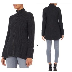 INTERMIX Gina Zip Up Wool Grey Sweater Jacket